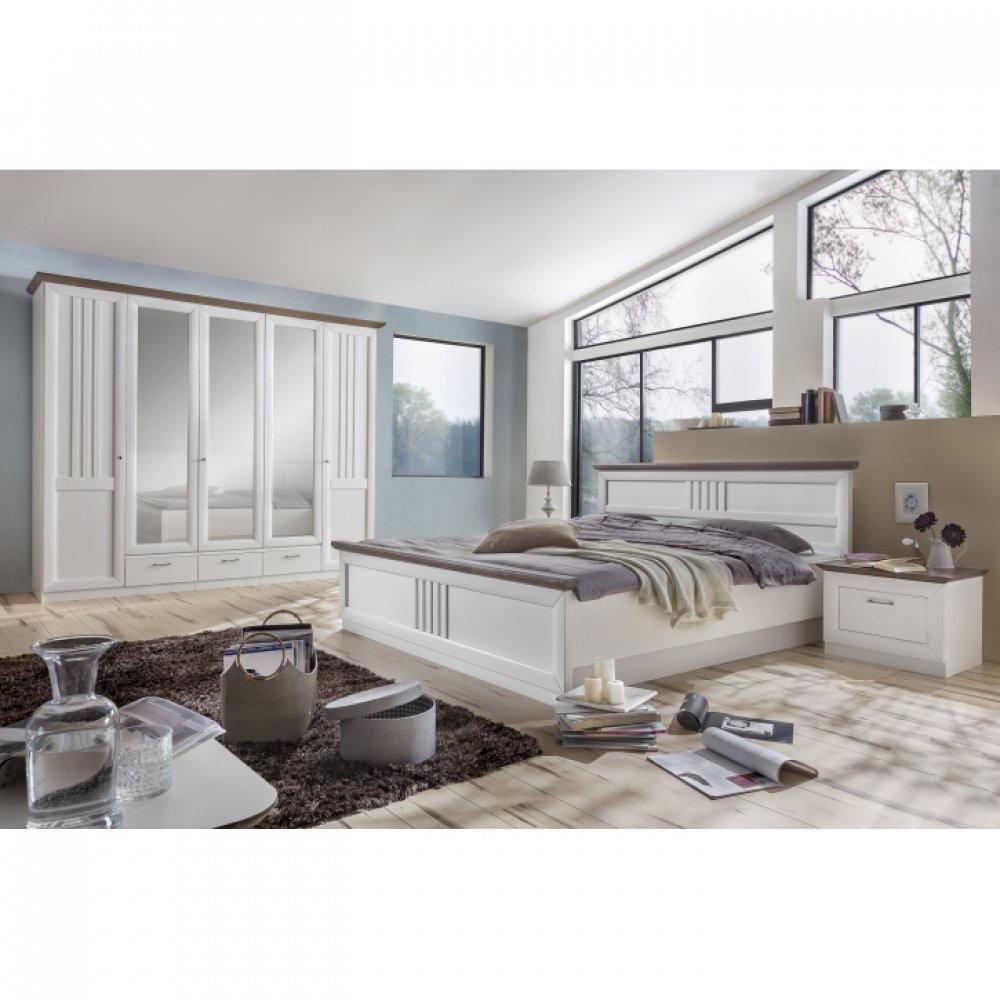 Landhausstil Schlafzimmer SET VERONICA massiv Pinie weiß