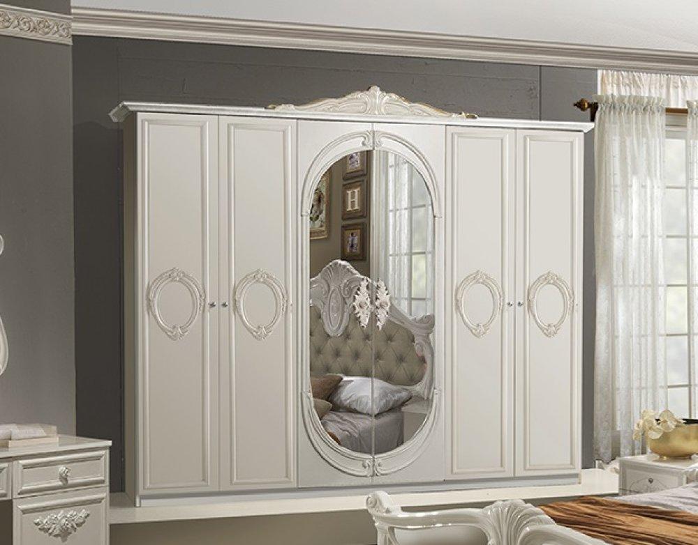 Klassisches Schlafzimmer Livia Italien Barock beige-weiß