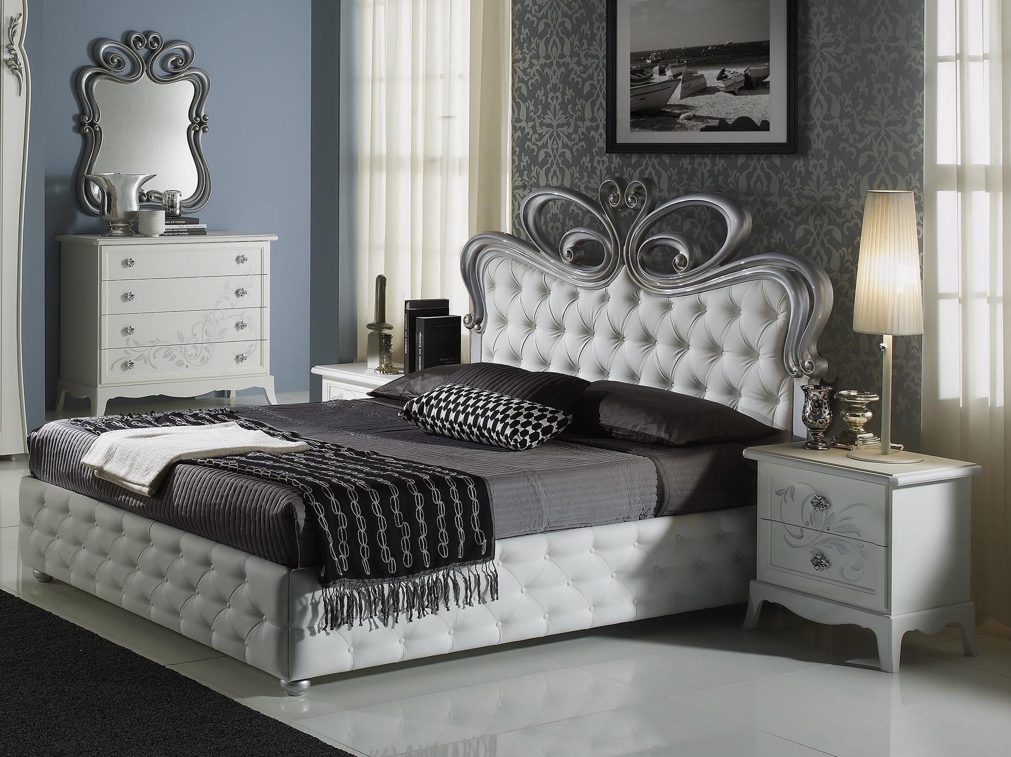 Edles Doppelbett Pietra mit Bettkasten weiß-creme/160x200 /Polsterung