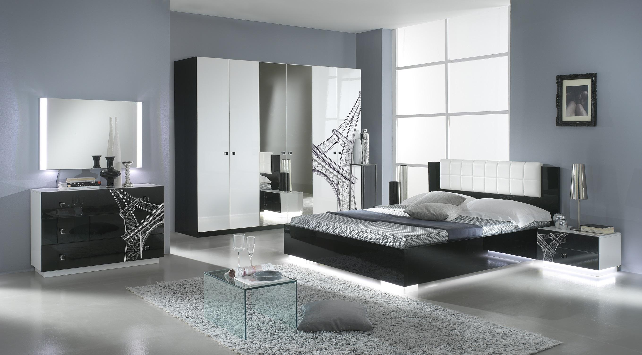 Elegantes Schlafzimmer VANINA in schwarz-weiß modern