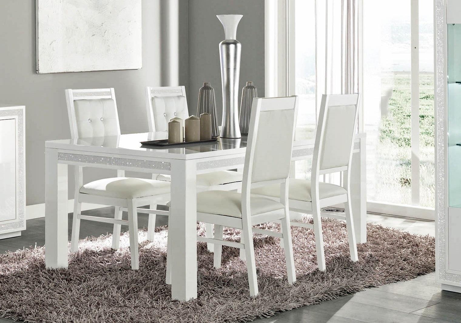 Tischgruppe Celine Mit 4 Stühlen Weiß Elegant Strasssteine