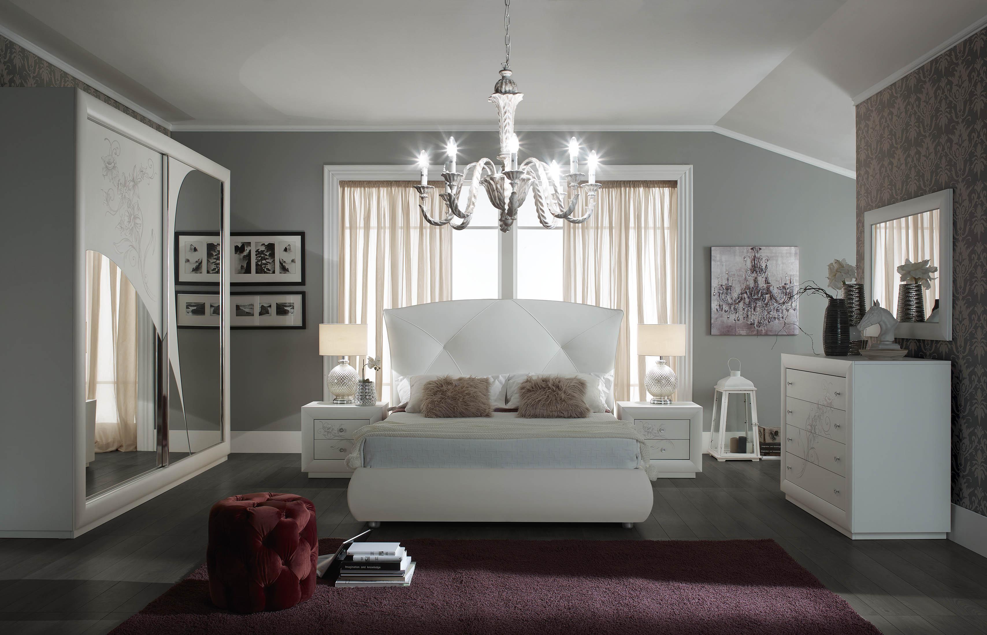 Elegantes Schlafzimmer CORRINA in weiß modern