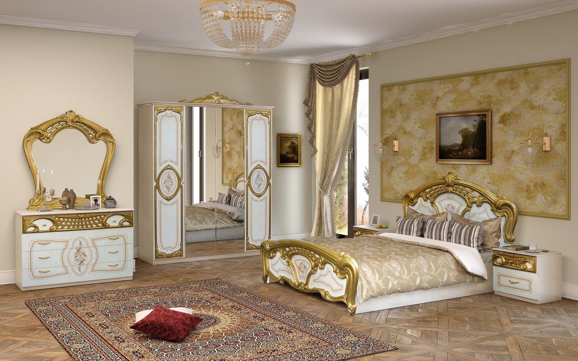Klassisches Schlafzimmer RAVENNA beige Italien Barock